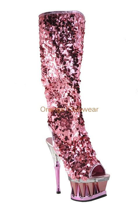pleaser baby pink sequin covered spiky platform knee high