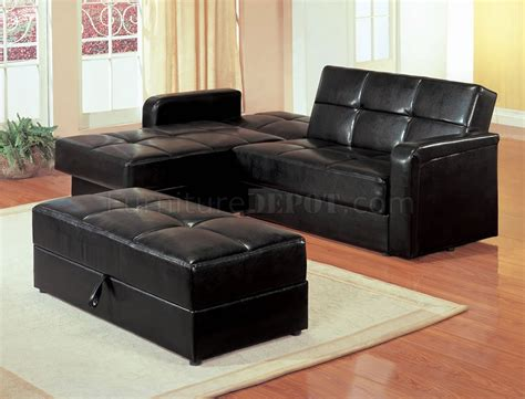 small black sectional black vinyl modern small sectional sofa w storage and ottoman