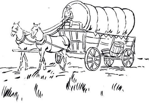free covered wagon horse coloring pages
