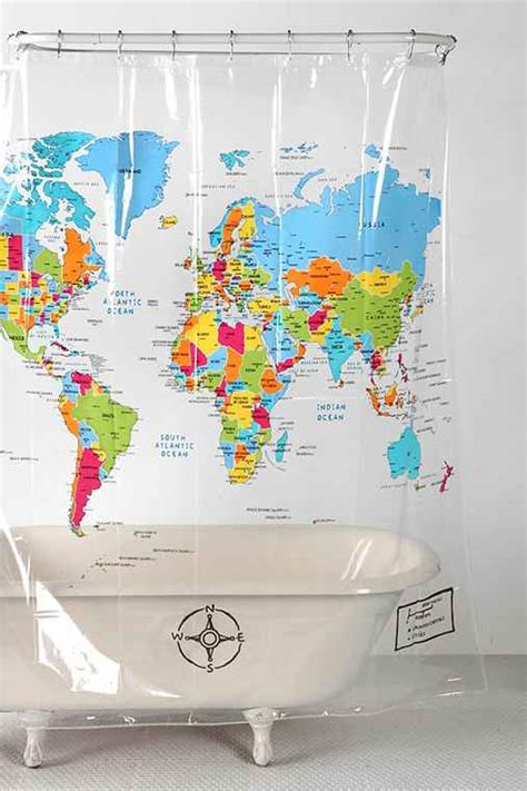 The World Shower Curtain by World Map Shower Curtain Outfitters