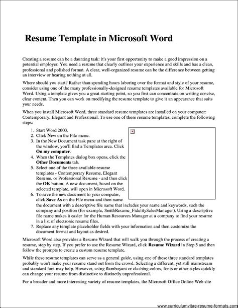 Microsoft Word Resume Template 2007 by Professional Resume Template Microsoft Word 2007 Free