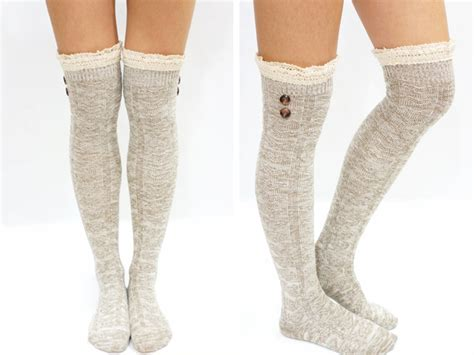 Lace Trim The Knee Boots lace trim button knit knee boot socks on luulla