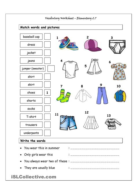free printable worksheets english language learners vocabulary matching worksheet elementary 2 7 clothes