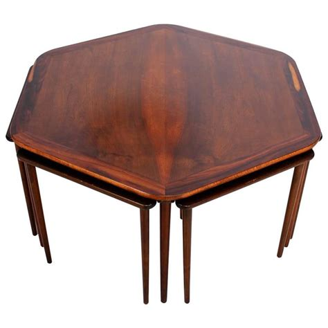 Century Furniture Coffee Table Hexagon Coffee Table And Nesting Tables Mid Century Modern In Rosewood For Sale At 1stdibs
