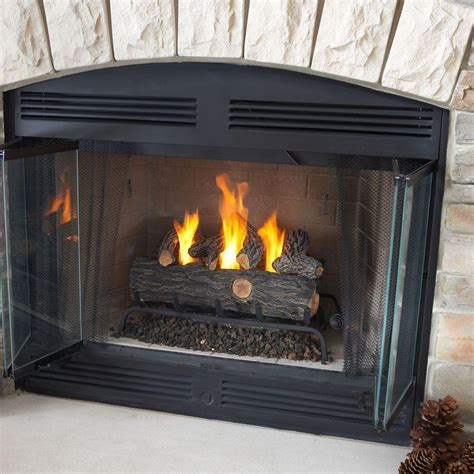What Is A Gas Log Fireplace by Emberglow Oak 18 In Vent Free Propane Gas Fireplace Logs With Remote Scvfr18l The