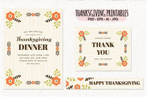 thanksgiving card template psd thanksgiving printables bundle presentation templates on
