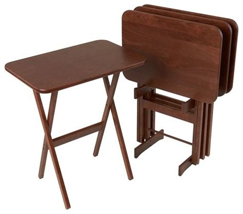 large rectangular folding tv tray table set of 4 by