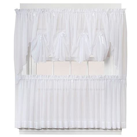 Sheer Tier Curtains Buy Emelia 24 Inch Sheer Window Curtain Tier Pair In White From Bed Bath Beyond