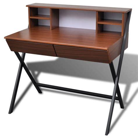 vidaxl co uk brown workstation computer desk with 2 drawers