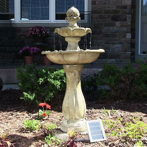 outdoor water fountains with led lights water solar powered 2 levels tiered outdoor
