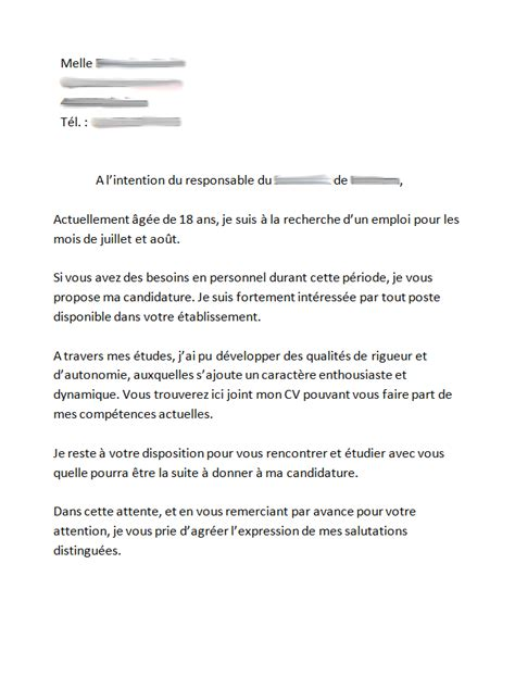 Exemple De Lettre De Motivation Emploi Saisonnier lettre de motivation travail saisonnier employment application