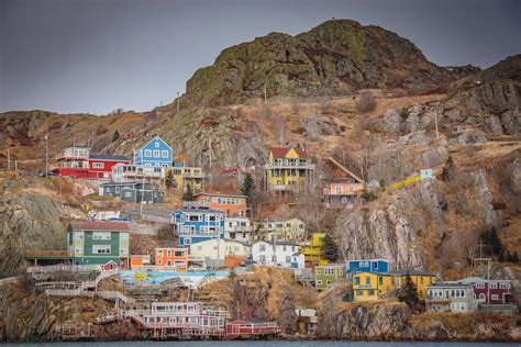 stock photo  battery colorful houses newfoundland
