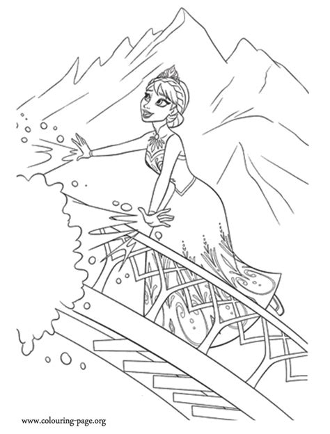 frozen elsa using her ice powers coloring page