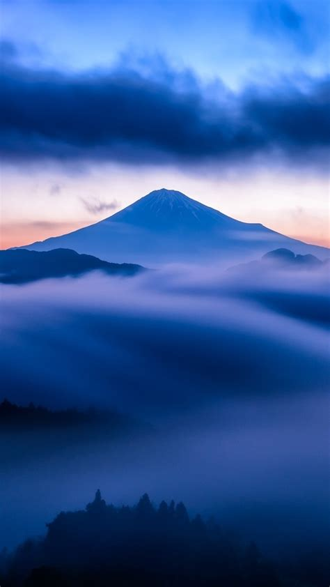 mountain snow sky mist blue sunset clouds iphone wallpaper iphone wallpapers