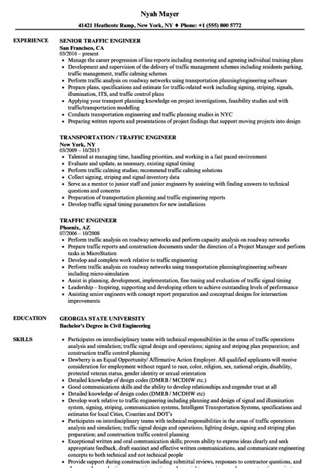 traffic engineer resume sles velvet