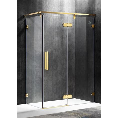 Gold Shower Doors Shop Anzzi Sultan Series 54 92 In To 55 51 In Semi Frameless Polished Gold Hinged Shower Door At