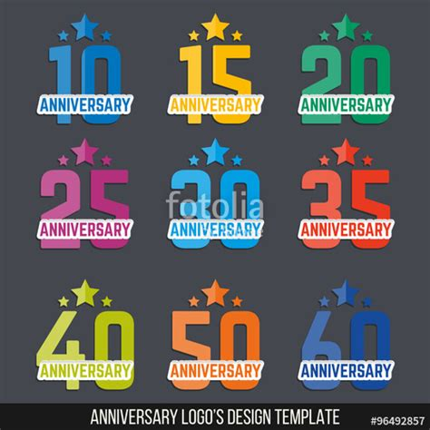 quot vector set of anniversary color signs symbols 10 15 20 25 30 35 40 50 60 years jubilee