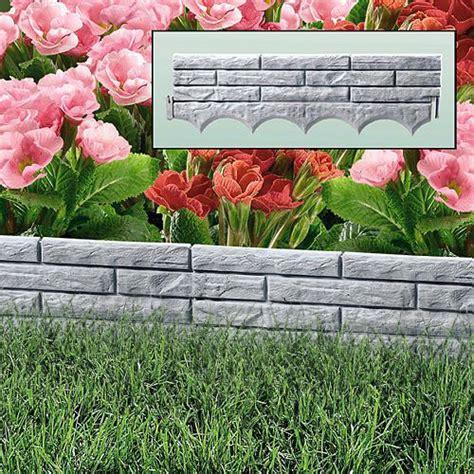flower bed liner grey brick wall garden border plastic lawn edging flower
