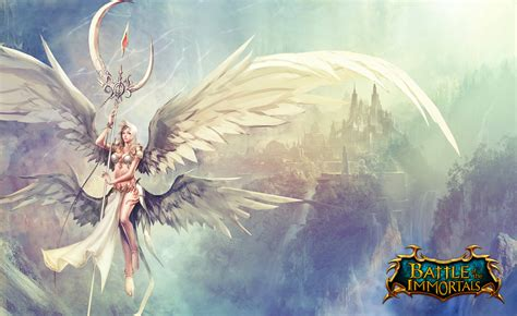 the angels game the battle of the immornals angel wings mage staff games fantasy girls wallpaper 4892x3000
