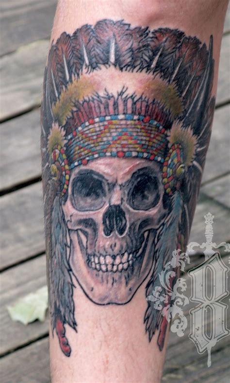 indian chief skull tattoo indian skull chief eight of swords