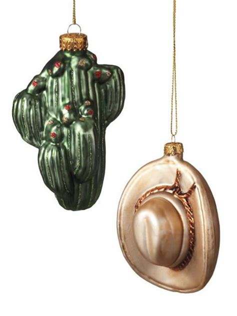 blown glass cactus cowboy hat christmas ornaments 269220