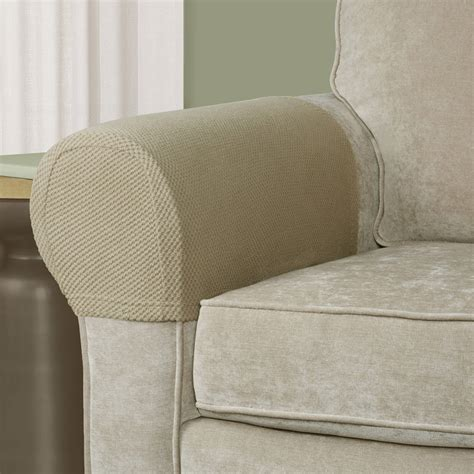 sofa armchair covers 2 piece brown armrest covers stretchy set chair sofa arm