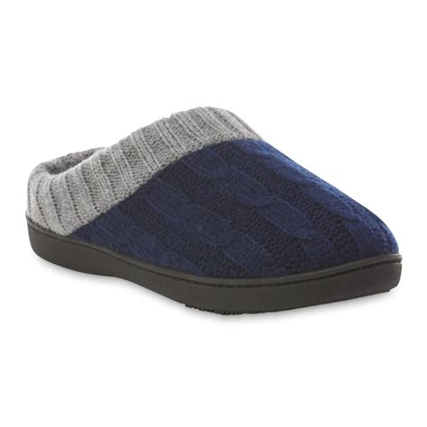 womens clog slippers isotoner s navy gray clog slipper