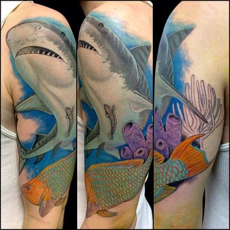 underwater scene tattoo designs underwater shark by deano cook tattoos