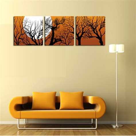 cheap canvas wall decor unframed 3 sets canvas painting moon and trees cheap