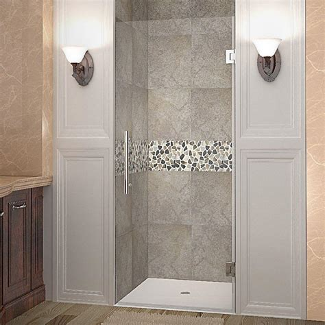 36 Glass Shower Door Aston Cascadia 36 In X 72 In Completely Frameless Hinged Shower Door In Stainless Steel With