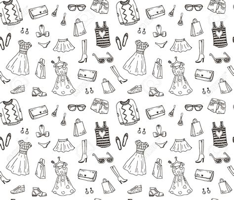 clothes pattern for photoshop women clothes and accessories hand drawn doodle seamless