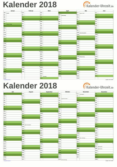 Kalender 2018 Hamburg Br Ckentage Kalender 2018 Excel