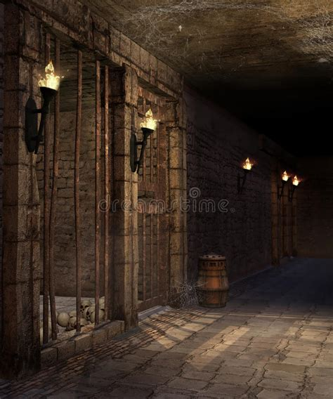dungeon dark castle background corridor in a castle dungeon stock illustration