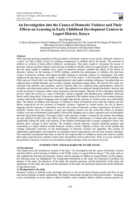 domestic violence research paper an investigation into the causes of domestic violence and