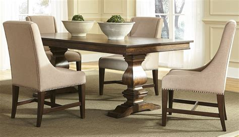 armand antique brownstone extendable trestle dining room