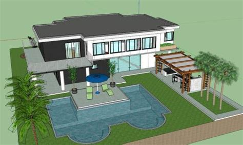 beach house with pool 3d in sketchup bibliocad