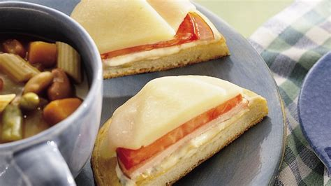 Round Sandwich Toaster Open Faced Canadian Bacon And Provolone Sandwiches Recipe