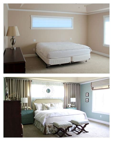 master bedroom reveal curtains  bed mirrors