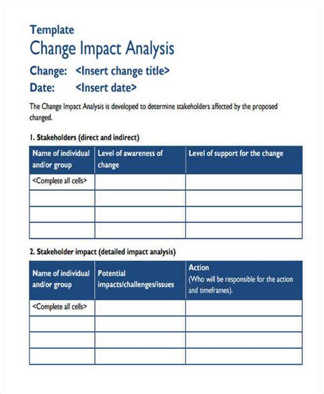 change impact assessment template 8 impact analysis exles in word pdf sle templates