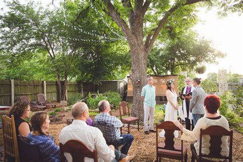small backyard wedding ceremony thomas and sara s secret backyard texas wedding ceremony