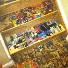 Decoupage Stairs - sports theme basement on basement sports bar