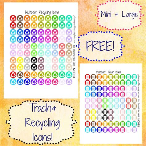 printable recycle stickers multicolor trash recycling icons free printable