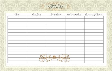 Home Bill Organizer Bill Log Home Finance Bill Payment Bill Organizer