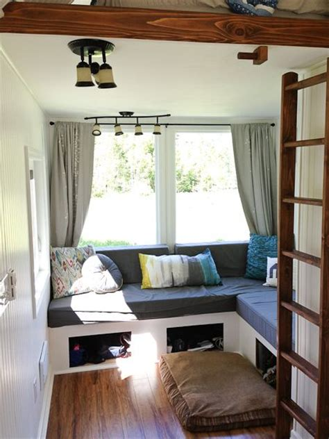 tiny house living room b s tiny living room putting the lounge space the sleeping loft makes much more sense
