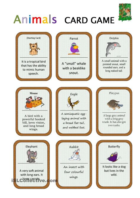 printable card games animals card game english for children pinterest
