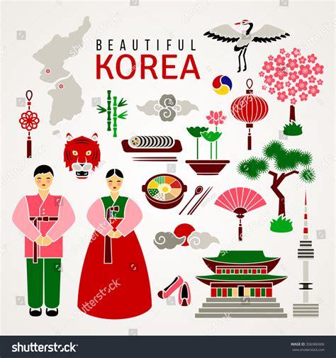 Boyset 5 In 1 Korean White Set korean cultural symbols set flat icons stock vector