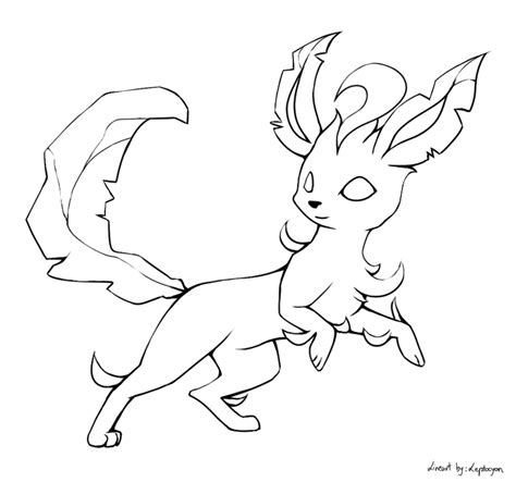 leafeon lineart by leptocyon on deviantart