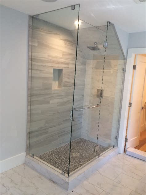Angled Glass Shower Doors Glass Enclosure With Angled Ceiling Patriot Glass And Mirror San Diego Ca