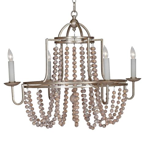 Sonya French Country Wood Beaded Swag Silver Leaf Country Wooden Chandeliers