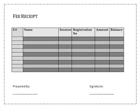 fee receipt template sheets and receipts free business templates part 2